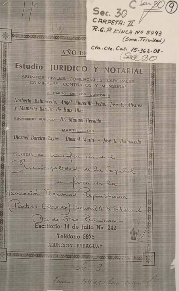 Foto del documento presentado por el presidente de la Seccional N° 30. Foto: Gentileza.