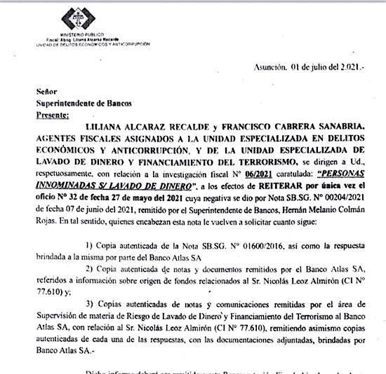 El 1 de julio pasado, la Fiscalía reiteró a la Superintendencia de Bancos los pedidos formulados en el marco de la causa sobre lavado de dinero que involucra al banco Atlas y al ex presidente de la Conmebol Nicolás Leoz.