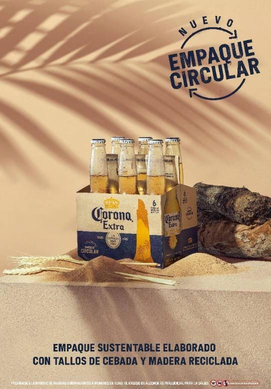 Corona reutiliza el excedente de cebada para elaborar un material de empaque. Foto: Gentileza.