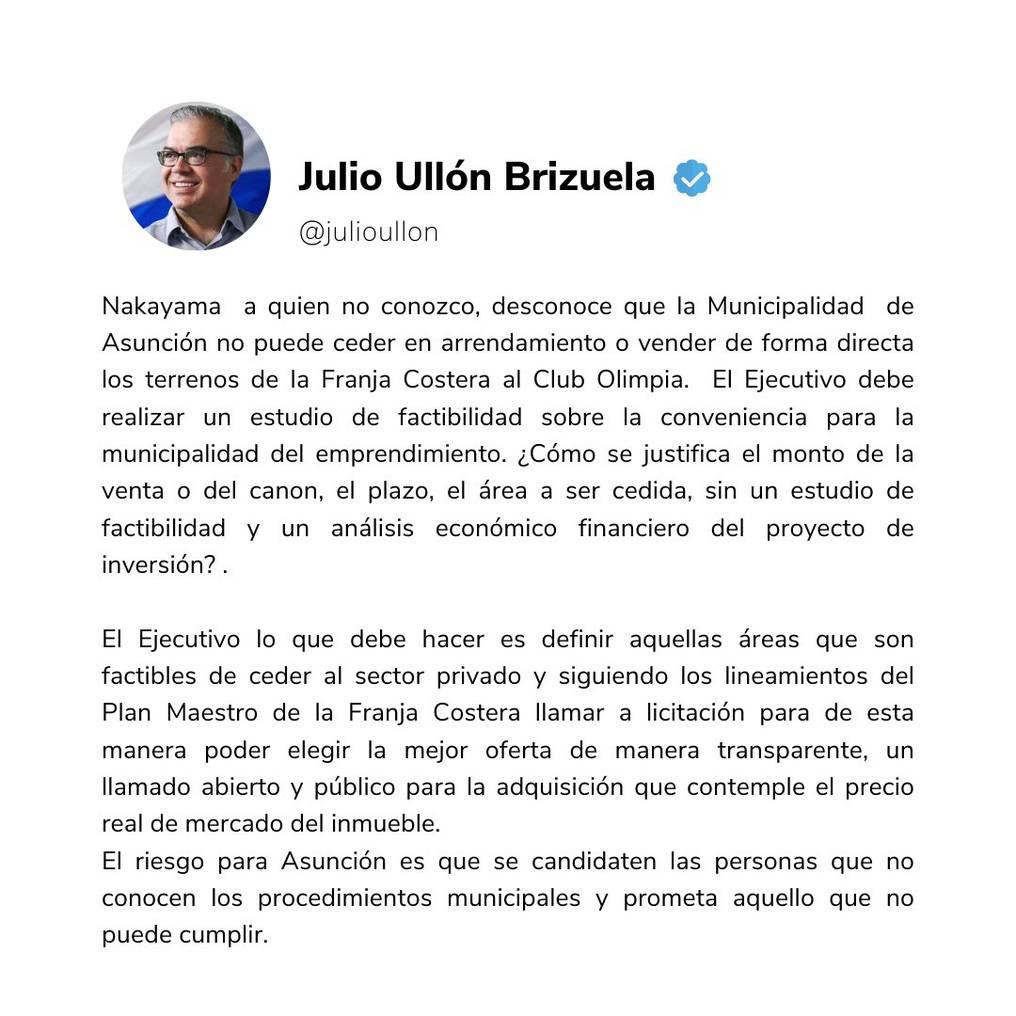 El concejal dijo que el candidato a la Intendencia de Asunción promete lo que no podrá cumplir. Foto: Captura de pantalla.