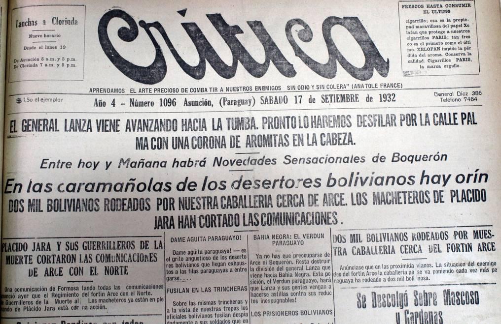 Las historias de la batalla de Boquerón y de otros enfrentamientos en la zona, copaban las portadas de los medios impresos. Foto: Juan Carlos Dos Santos.