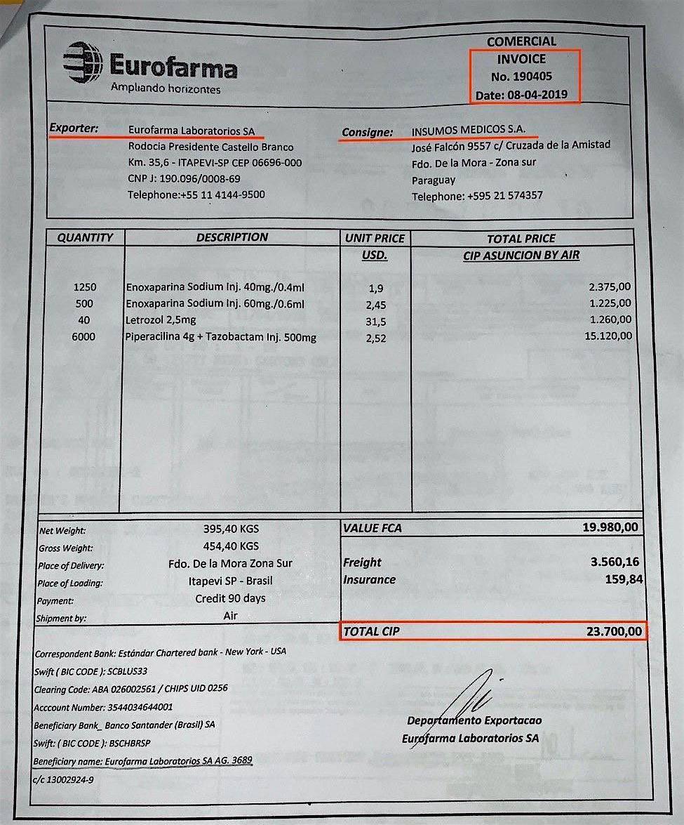 Imedic SA fraguó esta factura de Eurofarma para justificar la importación de medicamentos que traían de la India y que ingresaban al país sin control sanitario. Foto: Archivo.