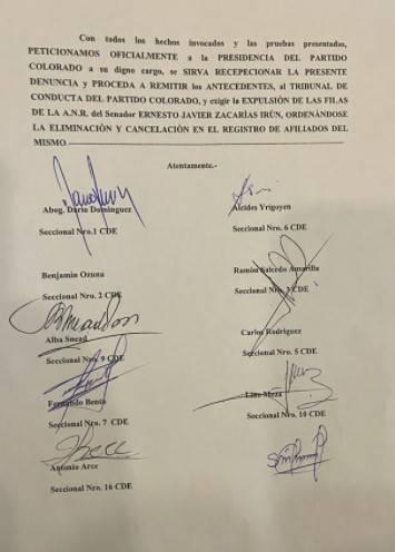 Los recurrentes piden remitir los antecedentes del caso al Tribunal de Conducta de la ANR. Foto: Gentileza.