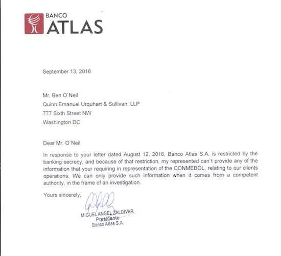 Esta es la nota de respuesta del presidente del banco Atlas, Miguel Ángel Zaldívar, al requerimiento de la justicia de los EEUU. Invocaron el secreto bancario para no colaborar con la investigación sobre el caso Leoz.