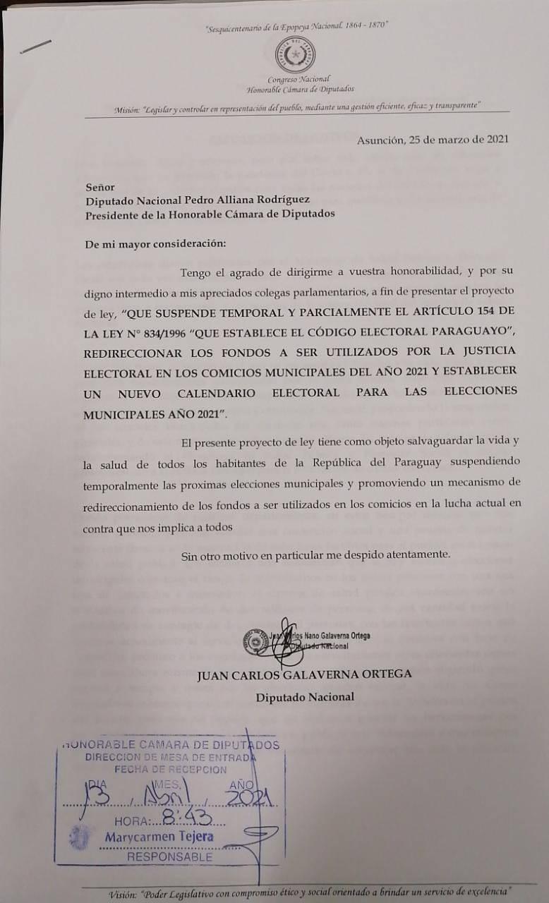 El proyecto pretende promover un mecanismo de redireccionamiento de los fondos a ser utilizados en los comicios en la lucha actual en contra al COVID-19. Foto: Gentileza.