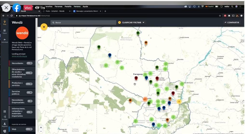 Todas las iniciativas que se registran en Wendá se pueden localizar en un gran mapa del Paraguay. Foto: Gentileza.