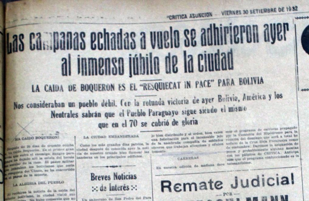 Crónica de las celebraciones en todo el país, al concretarse la ansiada caida del fortín Boquerón: Foto: Juan Carlos Dos Santos