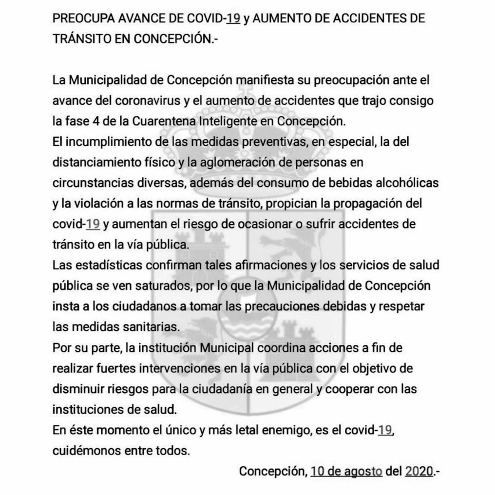 Comunicado de la Municipalidad de Concepción. Foto: Gentileza.
