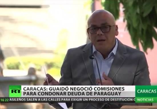 Conferencia de prensa en la que Jorge Rodríguez denunció al líder opositor Guaidó y a las autoridades paraguayas, encabezadas por el presidente Mario Abdo, y un miembro de su familia.FOTO:CAPTURA DE VIDEO