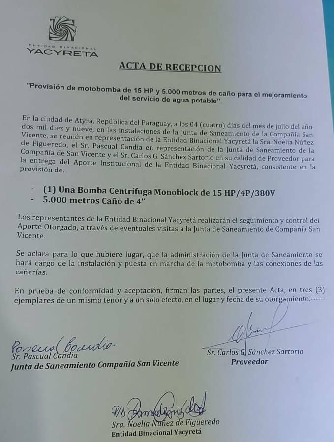 Acta de recepción de beneficios para la Junta de Saneamiento de San Vicente donde se especifica que la EBY debe realizar un monitoreo.