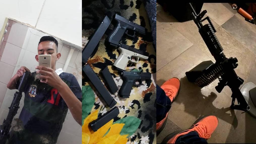 En un video hallado en uno de los teléfonos celulares se pudo observar a los detenidos portando armas largas y pistolas. Foto: Gentileza.