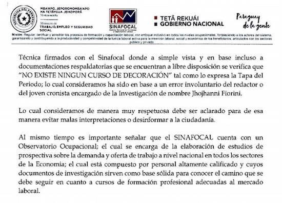 Sinafocal sostuvo que no existen cursos de decoración realizados con transferencias