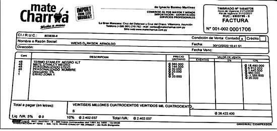 Factura de la compra de los 48 termos de la marca Stanley por G. 26,4 millones.