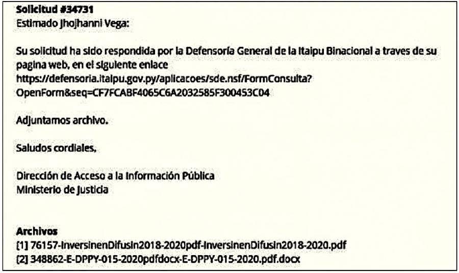 Documentos que había remitido Itaipú sobre gastos en publicidad de manera directa al periodista de nuestro medio.